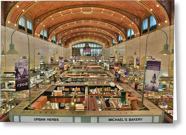 Best Sellers -  - Town Square Greeting Cards - Clevelands West Side Market Greeting Card by Frozen in Time Fine Art Photography