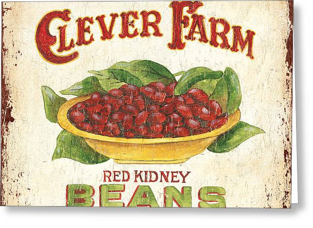 Green Beans Paintings Greeting Cards - Clever Farms Beans Greeting Card by Debbie DeWitt