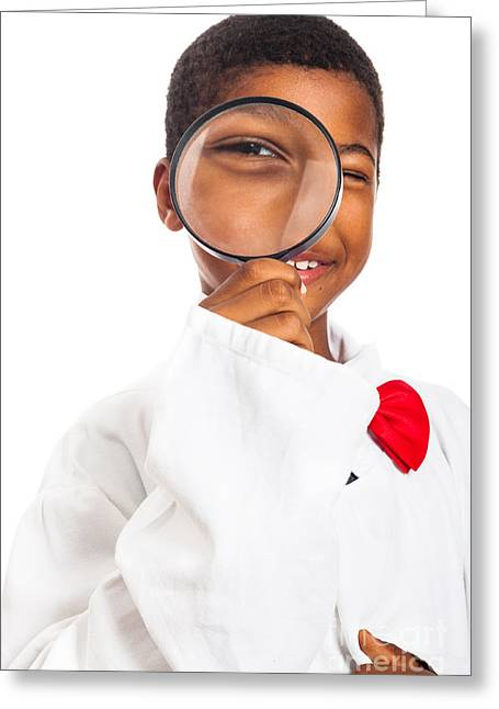 Biracial Greeting Cards - Clever scientist child exploring Greeting Card by Jan Mika