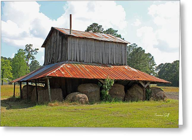 Hay Bales Greeting Cards - Clewis Family Tobacco Barn Greeting Card by Suzanne Gaff