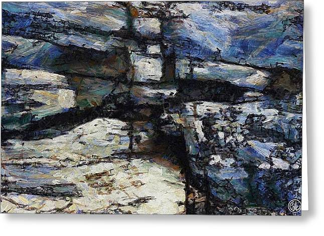 Fissure Greeting Cards - Cliff abstract Greeting Card by Gun Legler