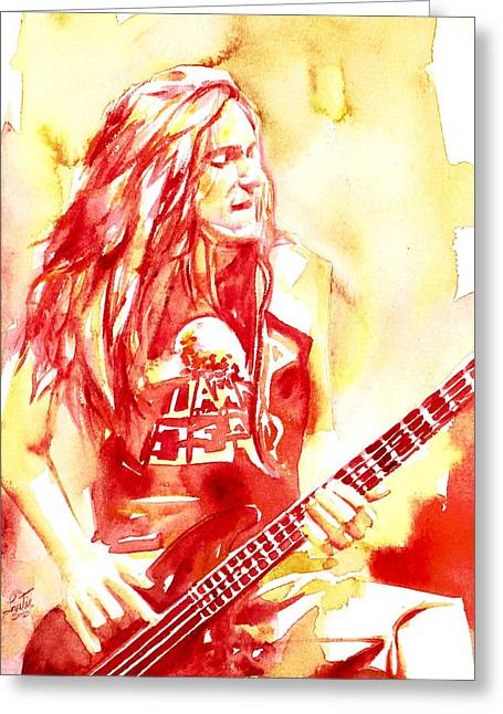 Metallica Greeting Cards - Cliff Burton Playing Bass Guitar Portrait.1 Greeting Card by Fabrizio Cassetta