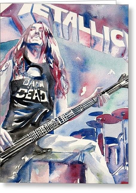 Burton Paintings Greeting Cards - Cliff Burton Playing Bass Guitar Portrait.2 Greeting Card by Fabrizio Cassetta