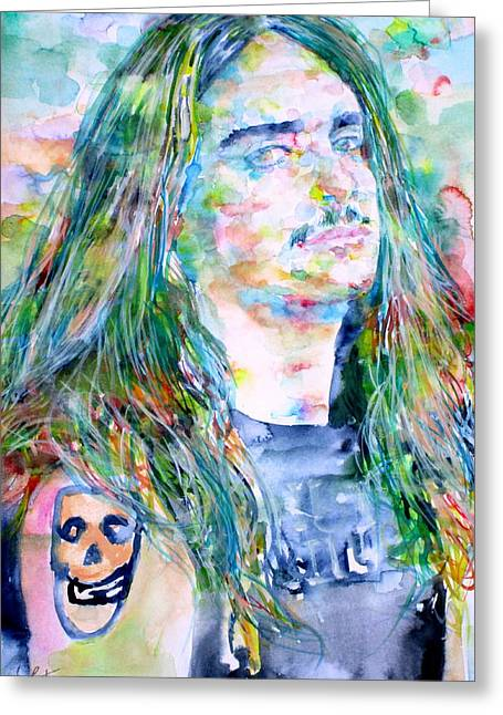 Metallica Greeting Cards - Cliff Burton Portrait.1 Greeting Card by Fabrizio Cassetta