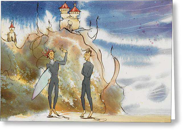 Surf Art Greeting Cards - Cliff Castles Greeting Card by Harry Holiday