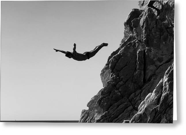 Acapulco Greeting Cards - Cliff Diver Greeting Card by Mountain Dreams