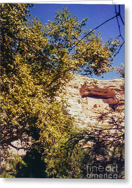Overhang Greeting Cards - Cliff Dwellers Greeting Card by Tom Gari Gallery-Three-Photography