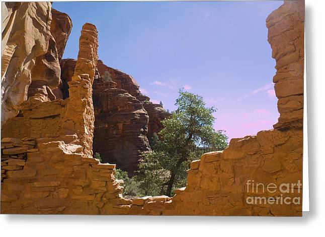 Cliff Dwellings Greeting Cards - Cliff Dwelling, Palatki Red Cliffs Greeting Card by Ellen Thane