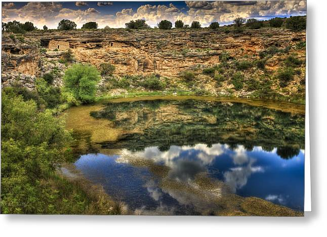 Montezumas Well Greeting Cards - Cliff Dwellings with a Lake Front View Greeting Card by Medicine Tree Studios