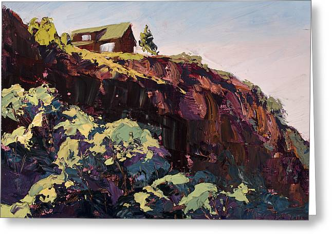 Watson Lake Greeting Cards - Cliff Hanger Greeting Card by Mary Giacomini