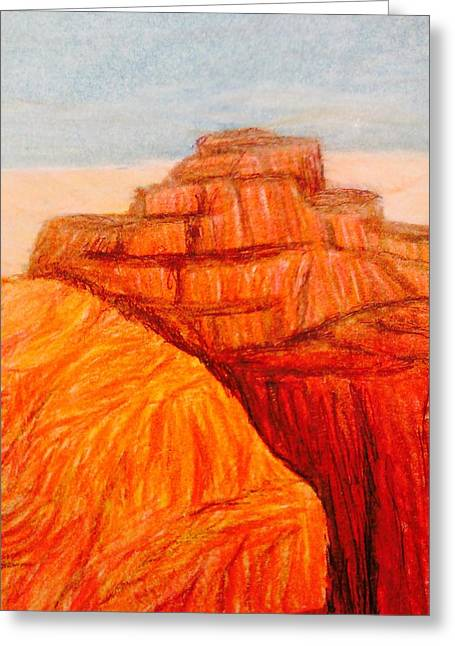 Rocks Drawings Greeting Cards - Cliff Hanging  Greeting Card by Christine Degyansky