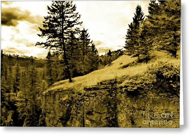 Ledge Mixed Media Greeting Cards - Cliff Greeting Card by John Kreiter