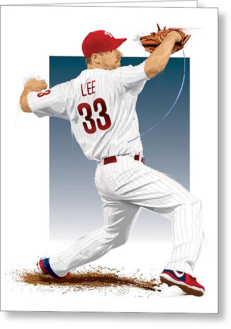 Citizens Bank Greeting Cards - Cliff Lee Greeting Card by Scott Weigner