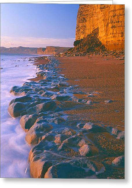 Non Urban Scene Greeting Cards - Cliff On The Beach, Burton Bradstock Greeting Card by Panoramic Images