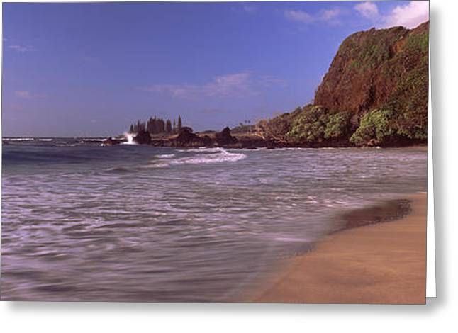 Beach Photography Greeting Cards - Cliff On The Beach, Hamoa Beach, Hana Greeting Card by Panoramic Images