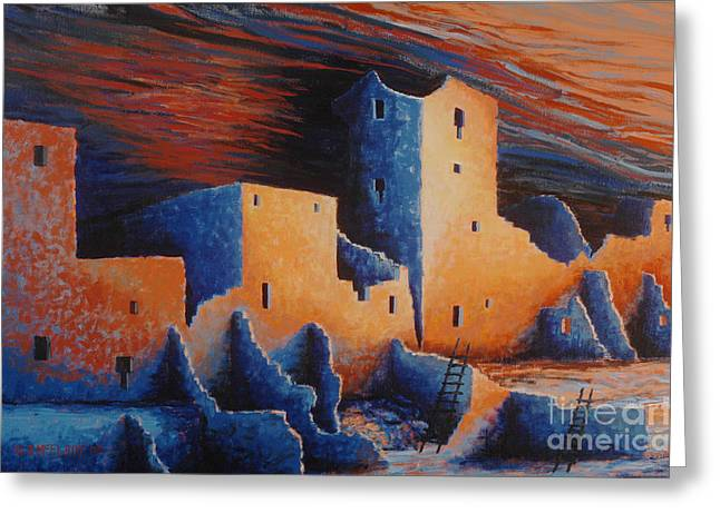 Mesa Verde Greeting Cards - Cliff Palace by Moonlight Greeting Card by Jerry McElroy