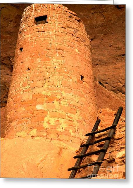 Ancient Ruins Greeting Cards - Cliff Palace Round Tower Greeting Card by Adam Jewell