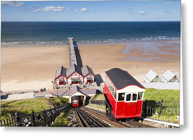 Repetition Photographs Greeting Cards - Cliff Railway Saltburn by the Sea Greeting Card by Colin and Linda McKie