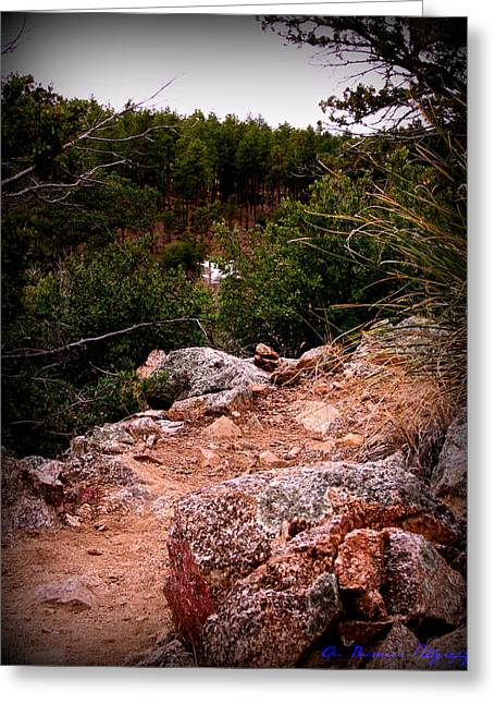 Prescott Greeting Cards - Cliff Side Trail Greeting Card by Aaron Burrows