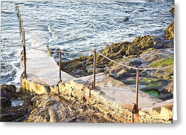 Wooden Stairs Greeting Cards - Cliff steps Greeting Card by Tom Gowanlock