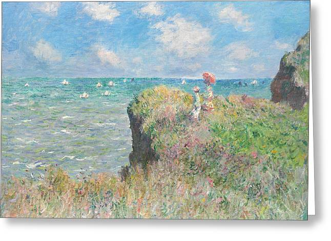Sailboat Ocean Greeting Cards - Cliff Walk At Pourville Greeting Card by Claude Monet