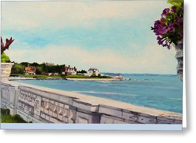40 Steps Cliff Walk Newport Ri Greeting Card by Patty Kay Hall