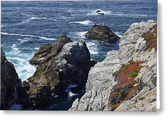 Point Lobos Reserve Greeting Cards - Cliffs and Coastline at Californias Point Lobos State Natural Reserve Greeting Card by Bruce Gourley