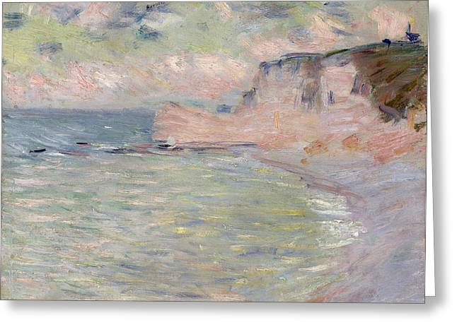 Beach Landscape Greeting Cards - Cliffs And The Porte Damont, Morning Effect, 1885 Oil On Canvas Greeting Card by Claude Monet