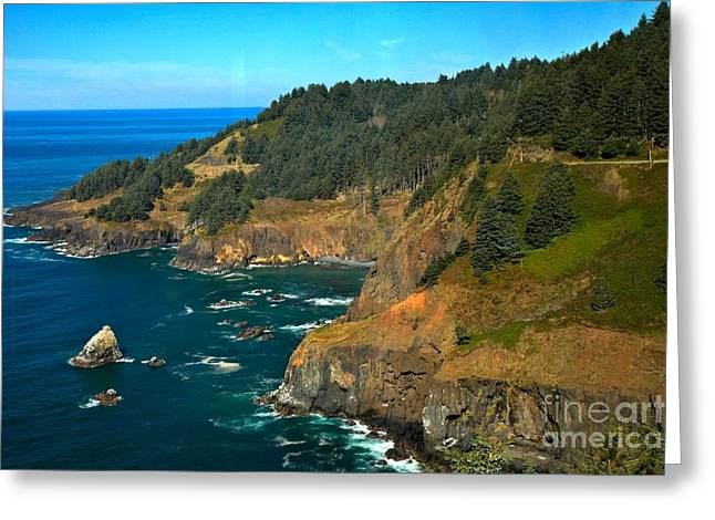 Cliffs At Cape Foulweather Greeting Card by Adam Jewell