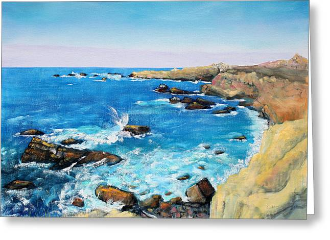 Pacific Ocean Prints Greeting Cards - Cliffs at Gerstle Cove California Greeting Card by Asha Carolyn Young