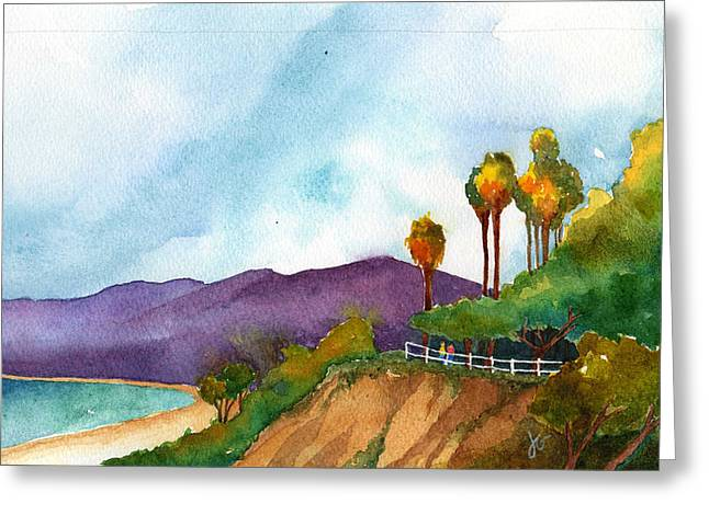 California Beaches Drawings Greeting Cards - Cliffs at the Beach Greeting Card by Jennifer Greene