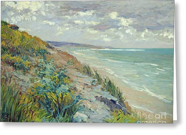 Ocean Shore Paintings Greeting Cards - Cliffs by the sea at Trouville  Greeting Card by Gustave Caillebotte