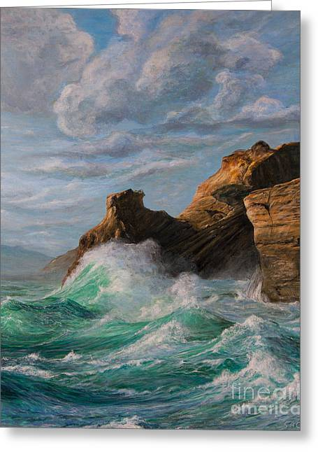 Sausalito Paintings Greeting Cards - Cliffs End Greeting Card by Jeanette Sacco-Belli