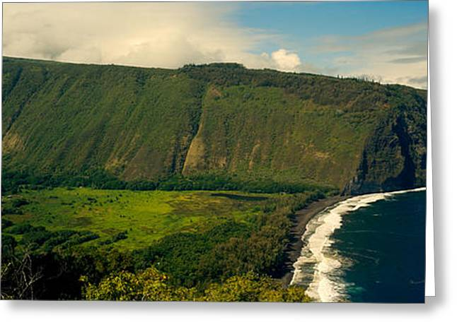 Cliffs Over Ocean Greeting Cards - Cliffs In The Sea, Waipio Valley, Big Greeting Card by Panoramic Images