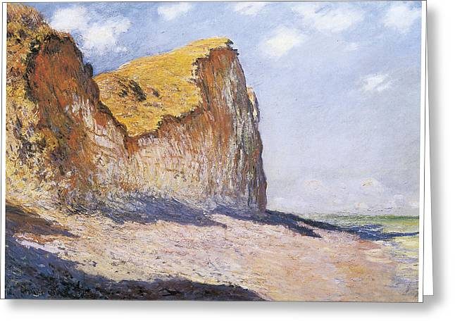 Pourville Greeting Cards - Cliffs near Pourvillle Greeting Card by Claude Monet