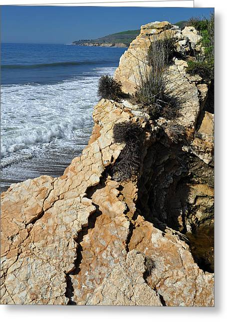 Landscape Photograpy Greeting Cards - Cliffs of Californias El Capitan State Beach Greeting Card by Bruce Gourley