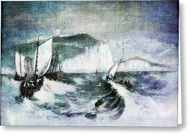 Wooden Ship Greeting Cards - Cliffs of Dover Greeting Card by Lianne Schneider