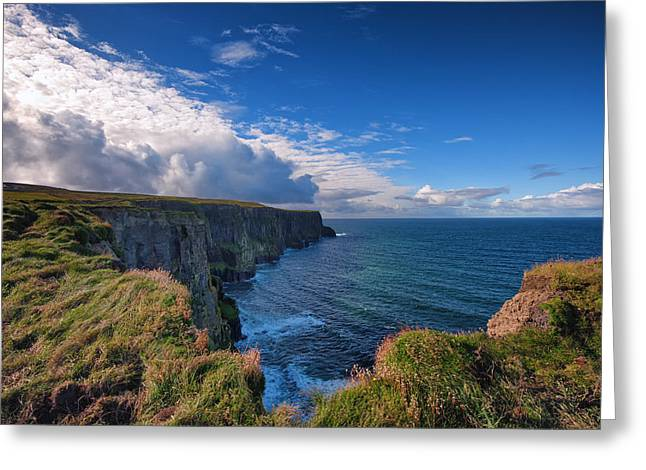 Ennistymon Greeting Cards - Cliffs of Moher Hook Greeting Card by Allan Van Gasbeck