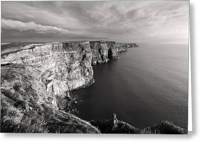 Spectacular Greeting Cards - Cliffs of Moher Ireland in Black and White Greeting Card by Pierre Leclerc Photography