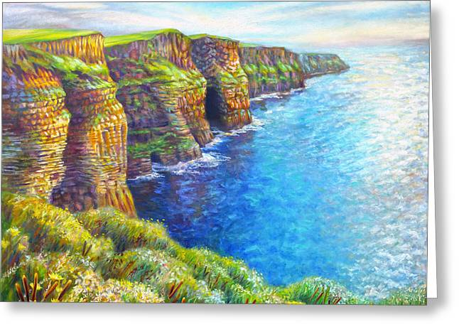 Gallery Wrap Paintings Greeting Cards - Cliffs of Moher Greeting Card by Nancy Tilles