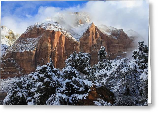Cliffs of Zion Greeting Card by Laura Zirino