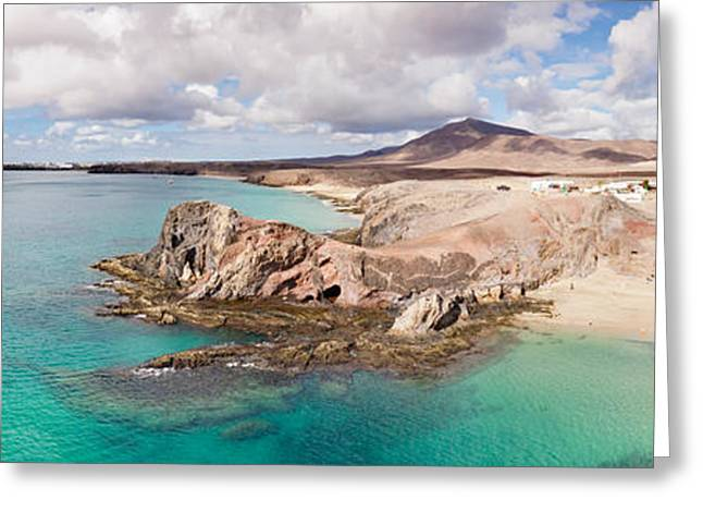 Cliffs On The Beach, Papagayo Beach Greeting Card by Panoramic Images