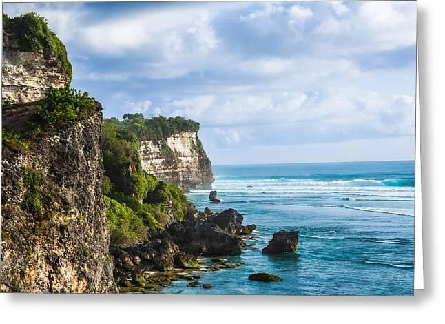 Newsom Greeting Cards - Cliffs on the Indonesian Coastline Greeting Card by Nila Newsom