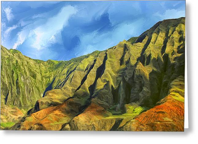 Lahaina Greeting Cards - Cliffs on the Na Pali Coast Greeting Card by Dominic Piperata