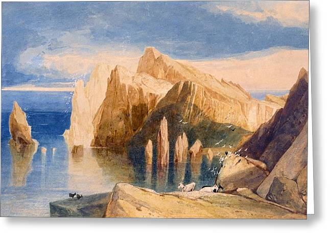 Goat Drawings Greeting Cards - Cliffs On The North East Side Of Point Greeting Card by John Sell Cotman
