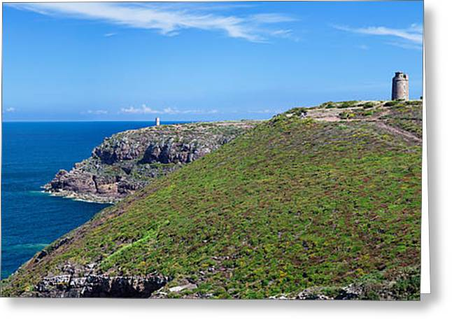 Cliffs With Two Lighthouses Greeting Card by Panoramic Images