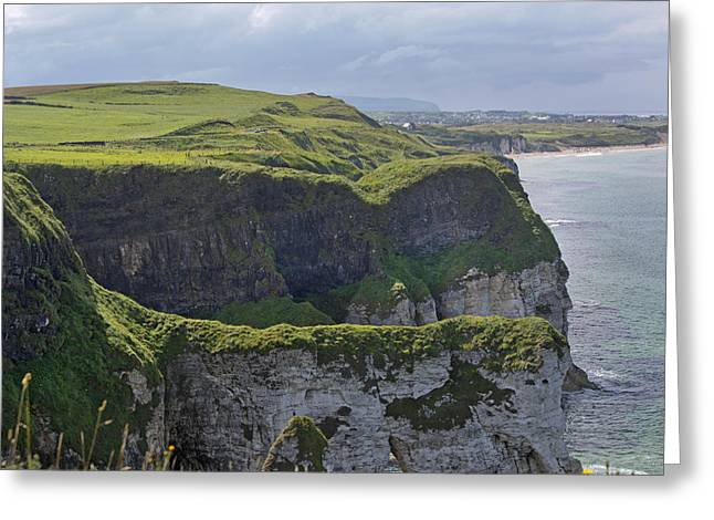 Modern Day Ruins Greeting Cards - Cliffside Antrim Ireland Greeting Card by Betsy A  Cutler