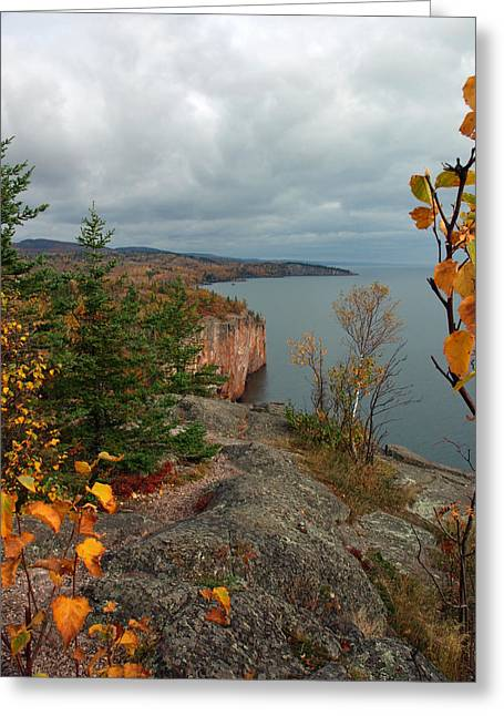 Peterson Greeting Cards - Cliffside Fall Splendor Greeting Card by James Peterson