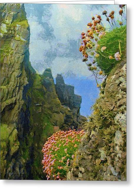 Coasts Greeting Cards - Cliffside Sea Thrift Greeting Card by Jeff Kolker
