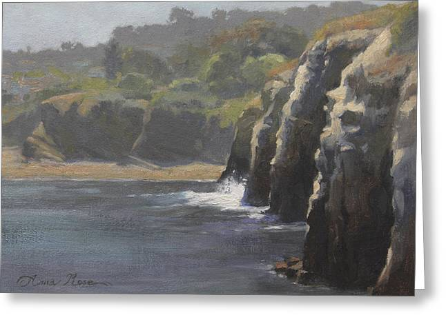 Cliff Paintings Greeting Cards - Cliffside Surf La Jolla Greeting Card by Anna Bain